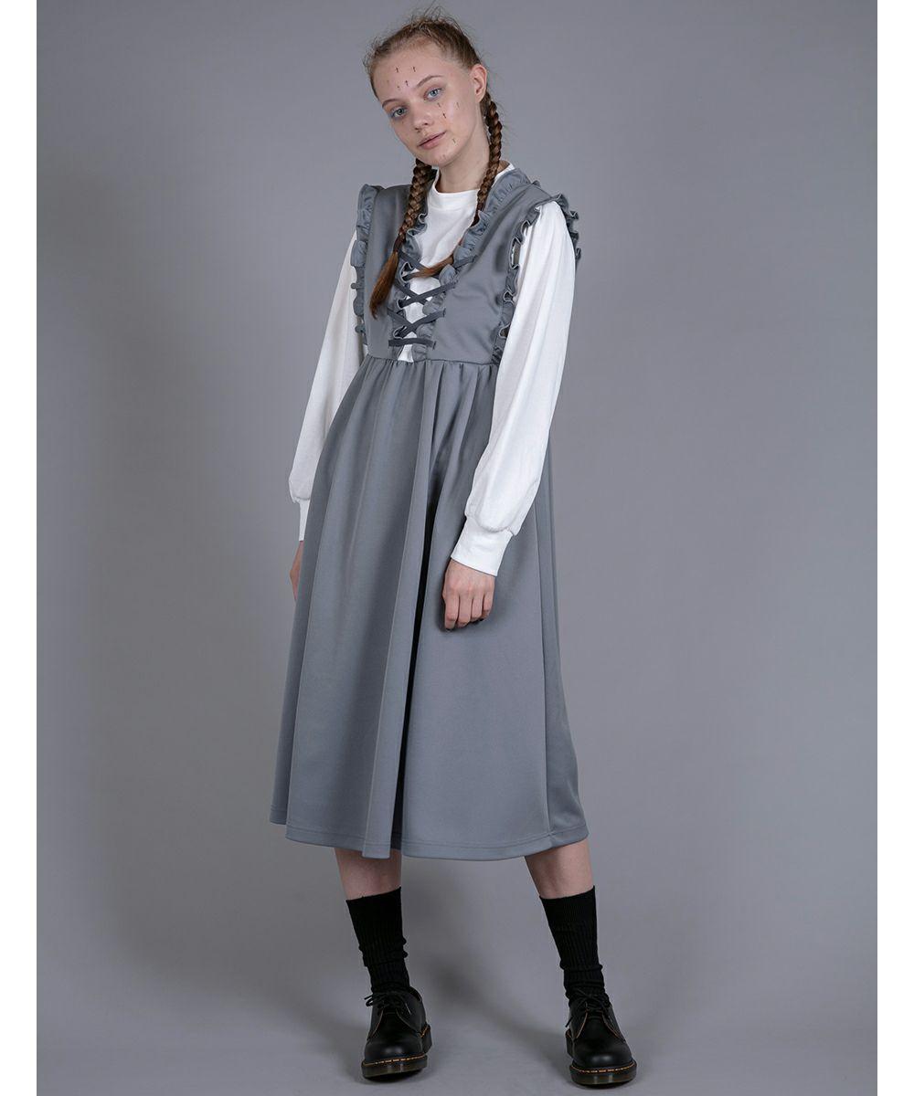 LACE UP JERSEY DRESS