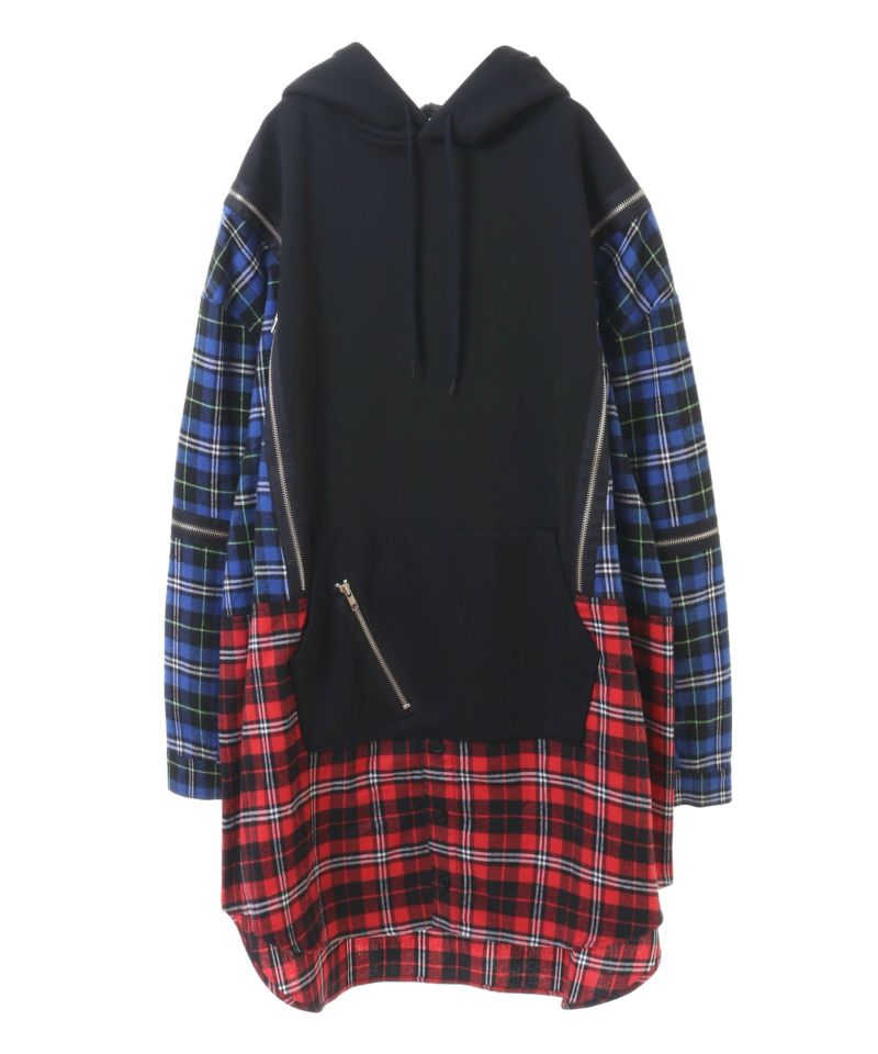 CHECK SWITCHED HOODIE
