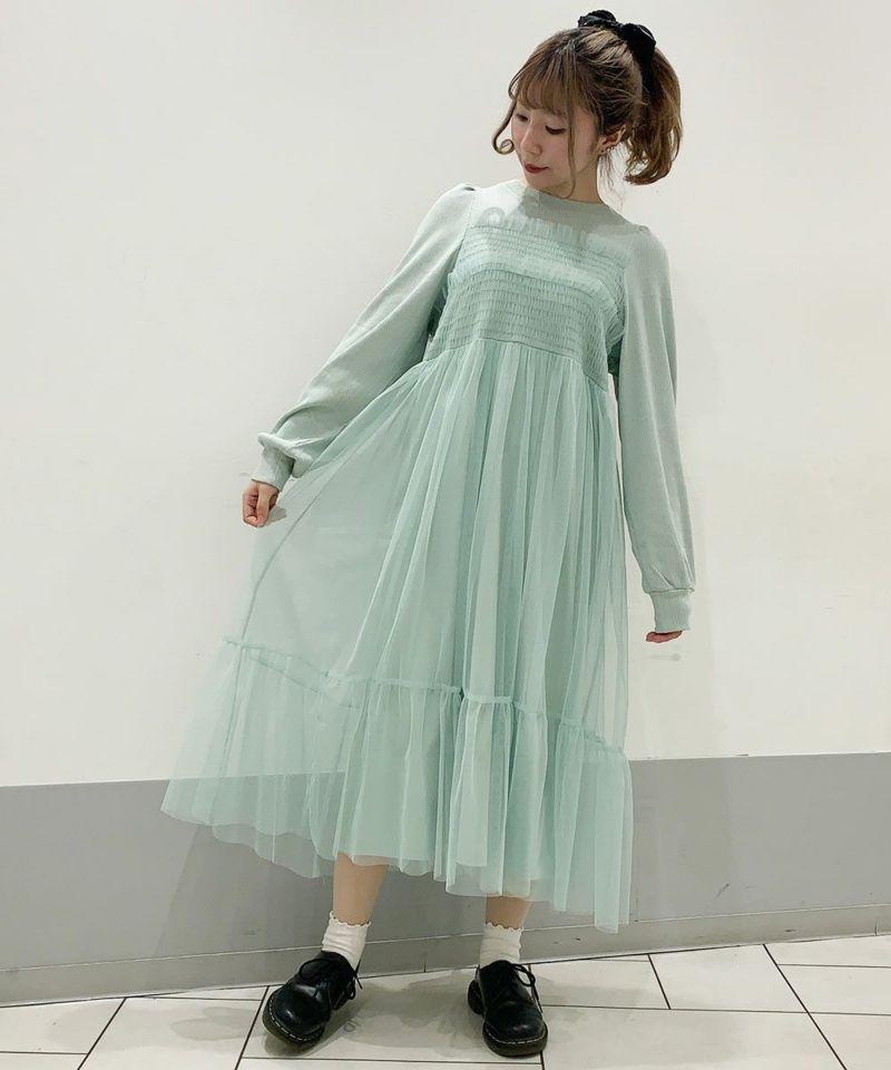 TULLE SHIRRING DRESS
