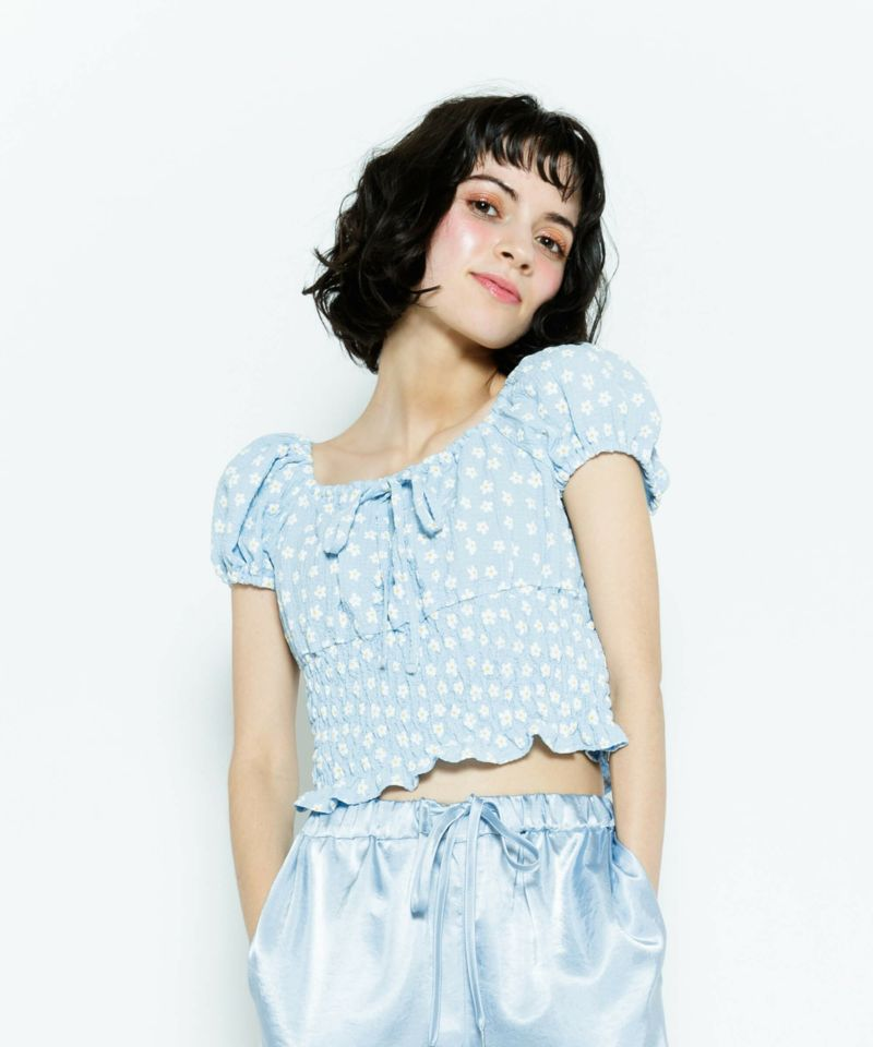 FLORAL SHIRRING TOPS